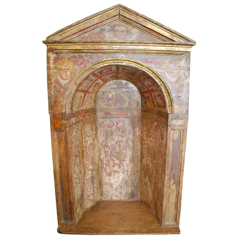 18th Century Spanish Polychromed Niche For Sale