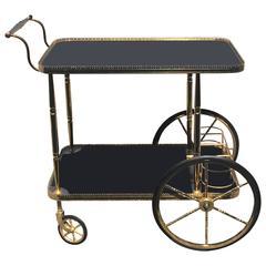 Brass and Black Glass Tea Cart