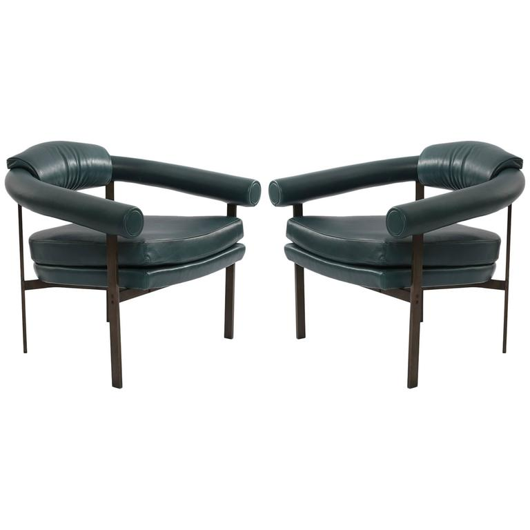 Bronze and Leather Lounge Chairs by Metropolitan For Sale