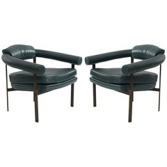 Bronze and Leather Lounge Chairs by Metropolitan