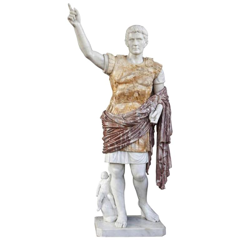 Italian Variegated Marble Standing Figure of Caesar Early 1900's signed A. Nivar