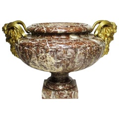 French 19th Century Louis XV Style Marble and Gilt Bronze-Mounted Planter-Urn