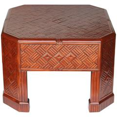Bamboo Cocktail Table Unusual Diagonal Parquetry Inlay Pattern