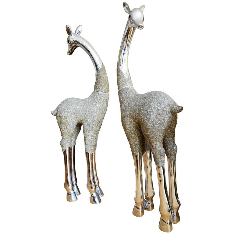 Whimsical Pair of Monumental Metallic Giraffes