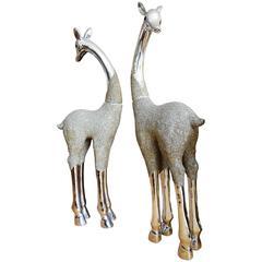 Whimsical Pair of Monumental Metallic Giraffes