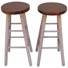 Pair of Rustic Original Painted Bar Stools