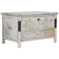 Antique Hungarian Trunk with Original Gray Paint, circa 1840-1860