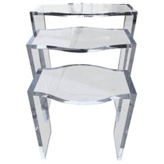 """Lucite Nesting Tables by Charles Hollis Jones, from the """"Routed Line"""""""