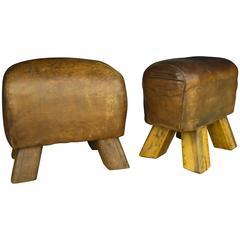 Mid-Century Leather Gym Bench Piggies