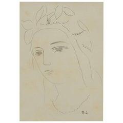 Marie Laurencin Graphite Drawing, Female Portrait