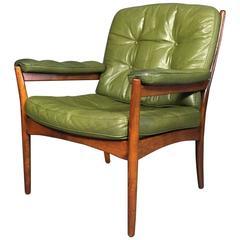 Göte Möbler Green Leather Lounge Chair, Teak Frame, Sweden, circa 1970