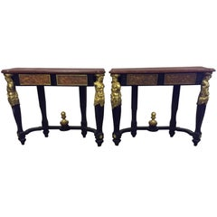 French Bronze Mounted Faux Painted Consoles, 19th Century