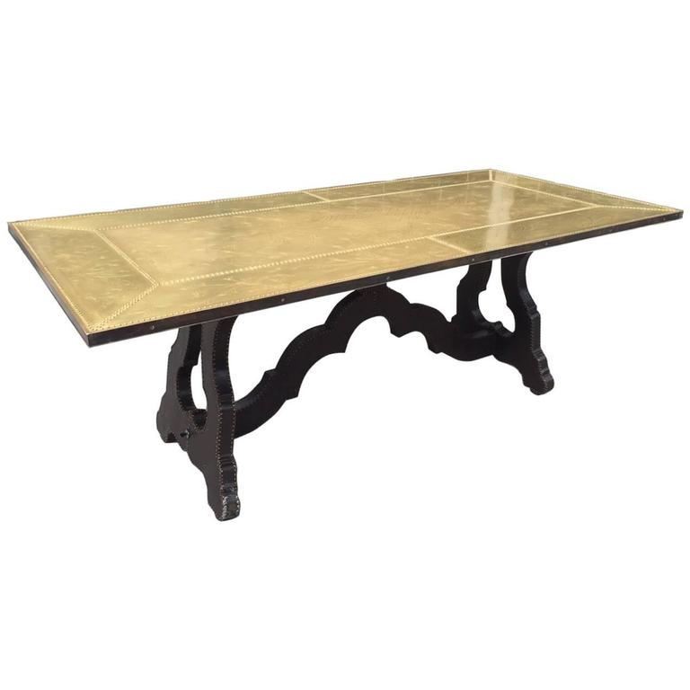 Spanish Bronze Etched Top Trestle Table