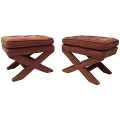 Pair of Tufted X-Stools by Milo Baughman