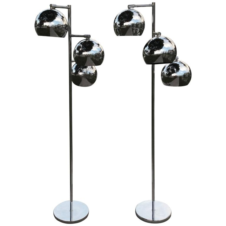 Floor Lamps Pair of Chrome Triple Eyeball Ball Koch & Lowy Retro