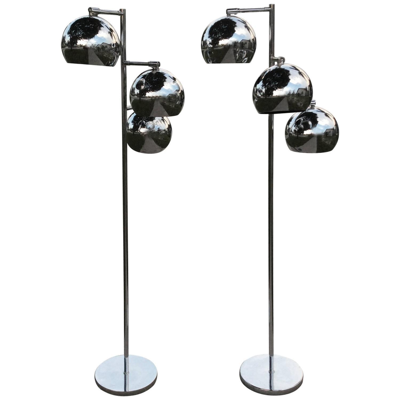 Floor lamps pair of chrome triple eyeball ball koch and for Retro floor lamp sydney