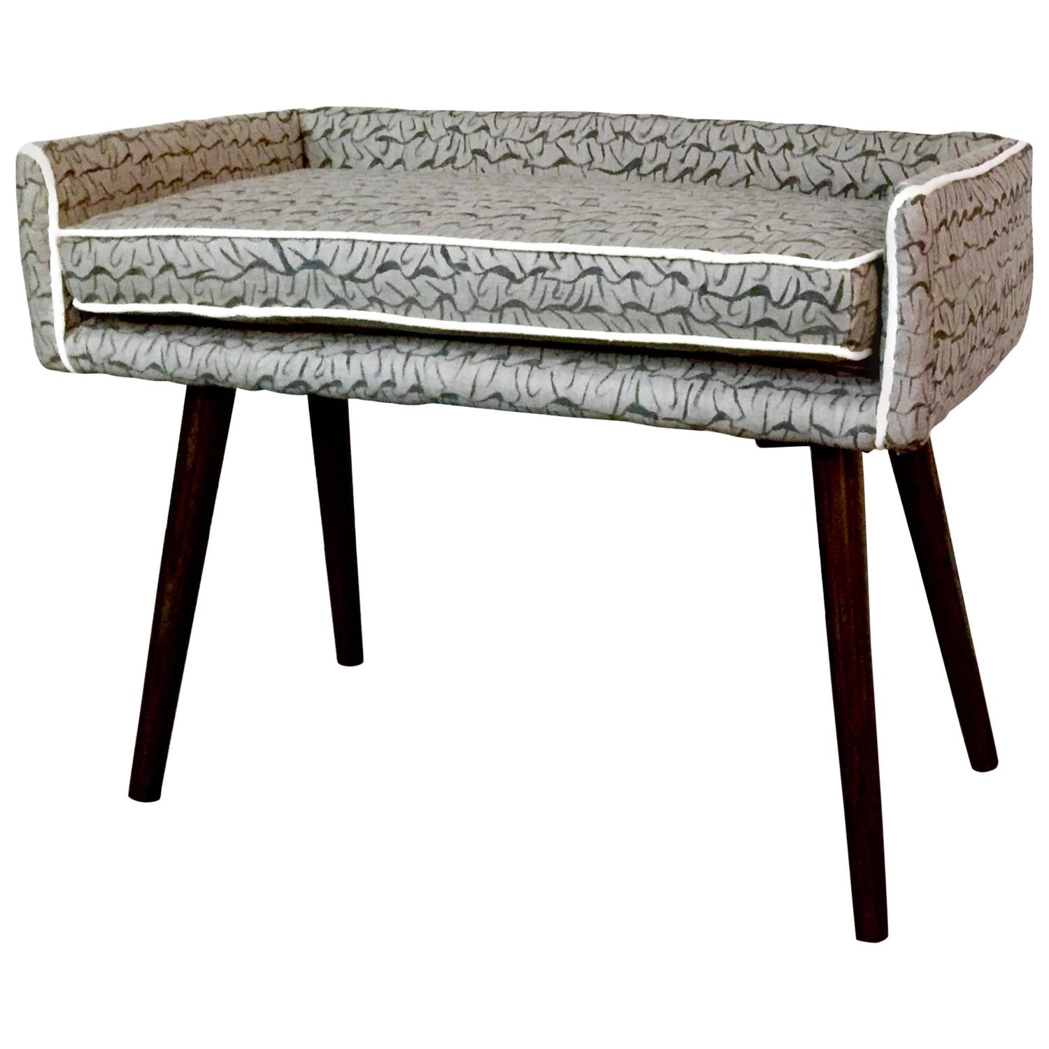 Mid Century Inspired Mini Bench In Gray Hand Painted
