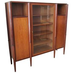 French Art Deco Wood and Glass Book Case Attributed to Maurice Dufrene