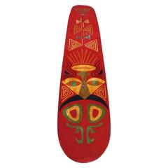 1920s Bentwood Surfboard with Original Painted Tiki Decoration