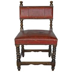 Wood and Leather, 19th Century Child's Chair