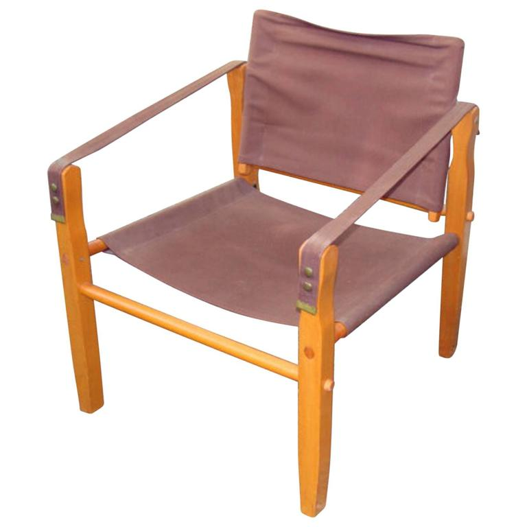 Rare Gold Medal Mid Century Safari Camp Chair For