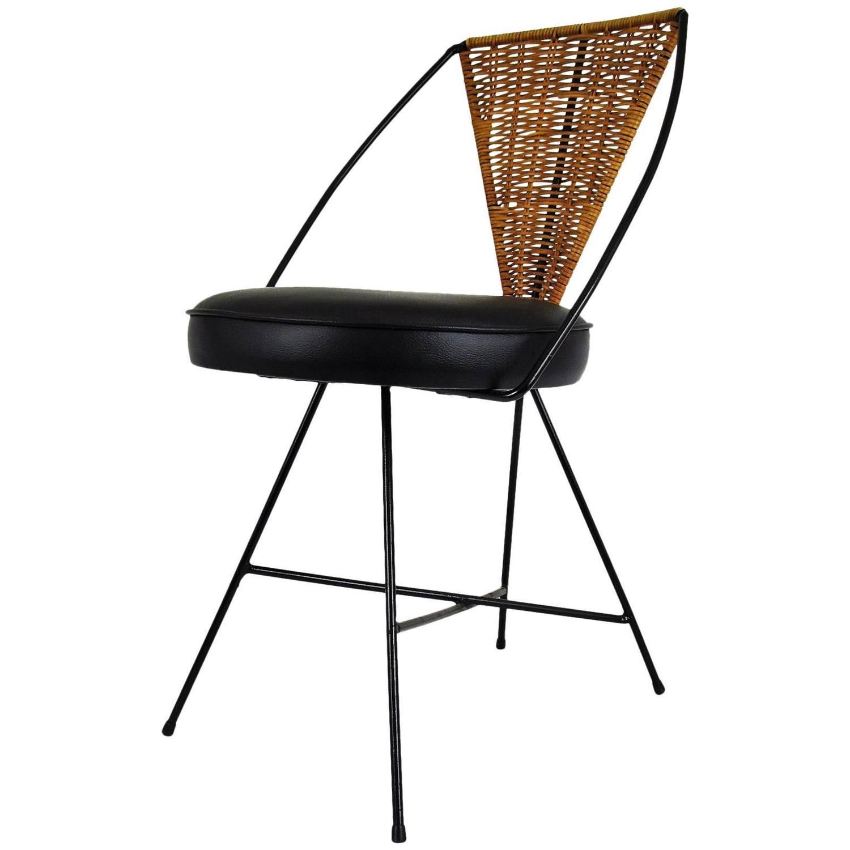 Arthur Umanoff Designed Mid Century Modern Iron And Wicker Side Chair At 1stdibs