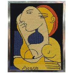 Colorful Needle Point Tapestry after Picasso