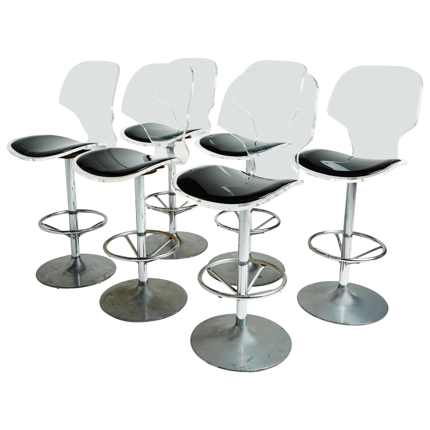 Swiveling Lucite Bar Stools in the Style of Charles Hollis Jones at ...