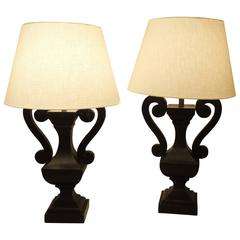 Pair of Carved Urn Form Table Lamps