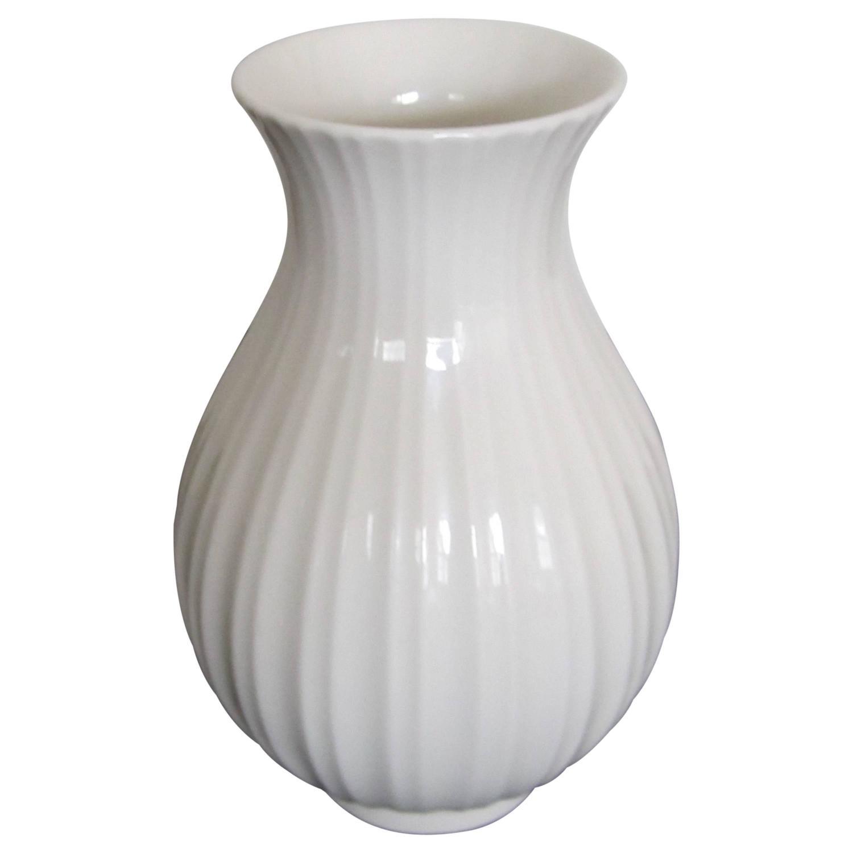Vintage Scandinavian Modern White Fluted Vase Denmark For