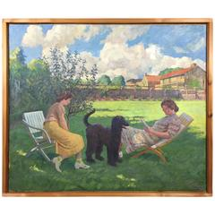 Large Danish Garden Scene O/C by Max Nathan, Dated 1940