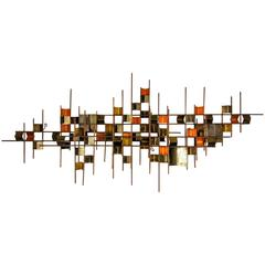 Large Wall Sculpture by Curtis Jere, Corrugated Copper, Brass and Steel