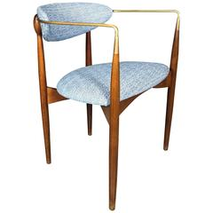 Dan Johnson 'Viscount' Chair for Selig, Walnut and Brass, 1950s