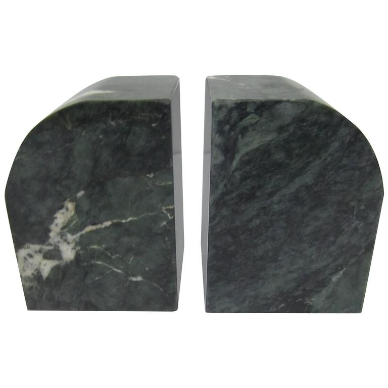Pair 1970s Modern Italian Dark Green and White Marble Bookends