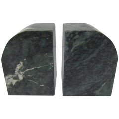 Pair Modern Italian Green and White Marble Bookends