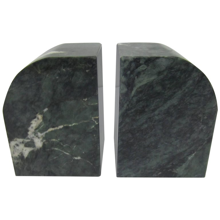Pair Modern Italian Green and White Marble Bookends For Sale