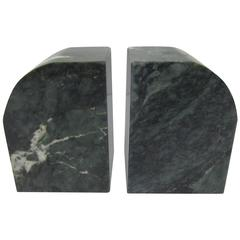 Pair Modern Italian Dark Green and White Marble Bookends, 1970s