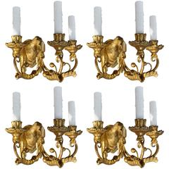 Set of Four Period Austrian Neoclassical Giltwood and Iron Sconces