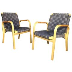 Alvar Aalto Birch and Linen Chairs, Rattan Wrapped Arms, Designed 1947