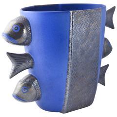 Rare Emilia Castillo Blue Pottery Figural Fish Vase