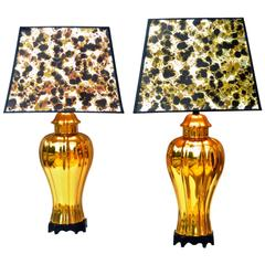 Gold Ceramic Lamps, Pair