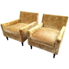 Pair of Crushed Velvet Lounge Chairs