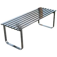 Milo Baughman Chrome Slat Vintage Bench or Coffee Table, Steel Hollywood Regency