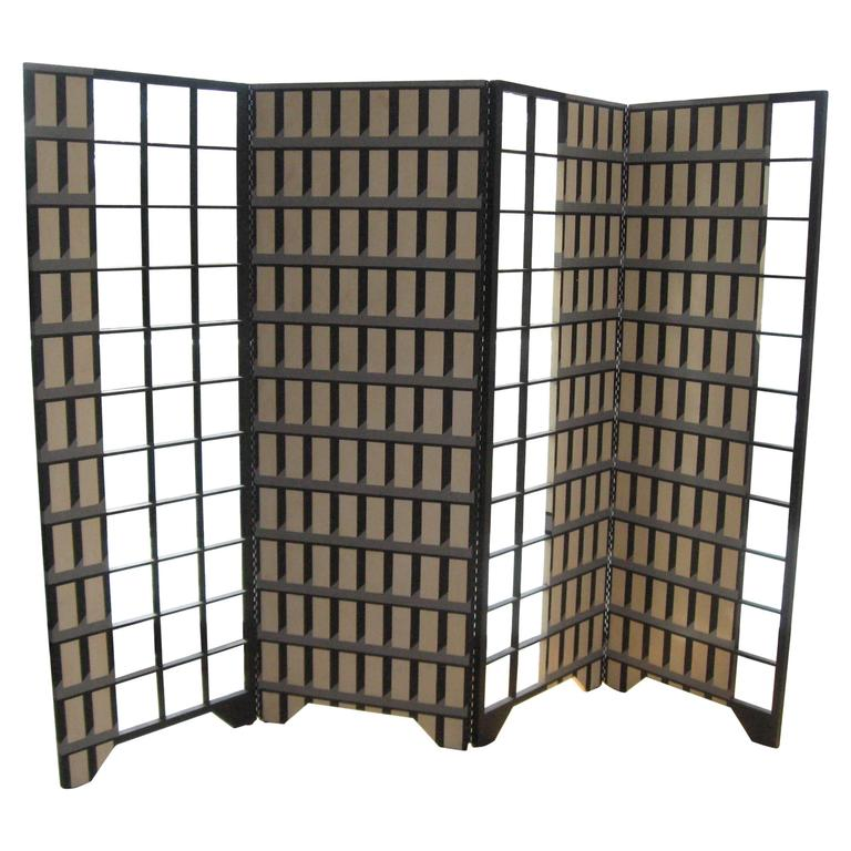 """96"""" Art Deco Style Hand-Painted Four Panel Screen"""