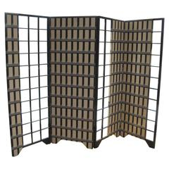 "96"" Art Deco Style Hand-Painted Four Panel Screen"