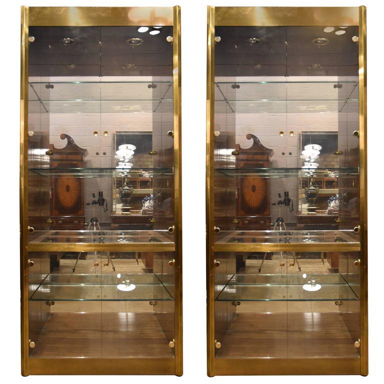 pair of brass mastercraft etageres or vitrines at 1stdibs. Black Bedroom Furniture Sets. Home Design Ideas
