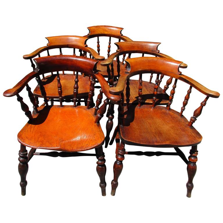 Antique Set of Five English Captain's Chairs For Sale - Antique Set Of Five English Captain's Chairs For Sale At 1stdibs
