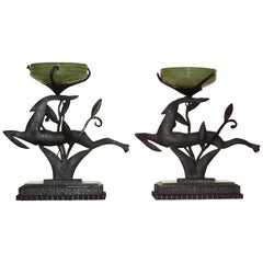 Art Deco Leaping Gazelles Ironwork with Glass Lamps