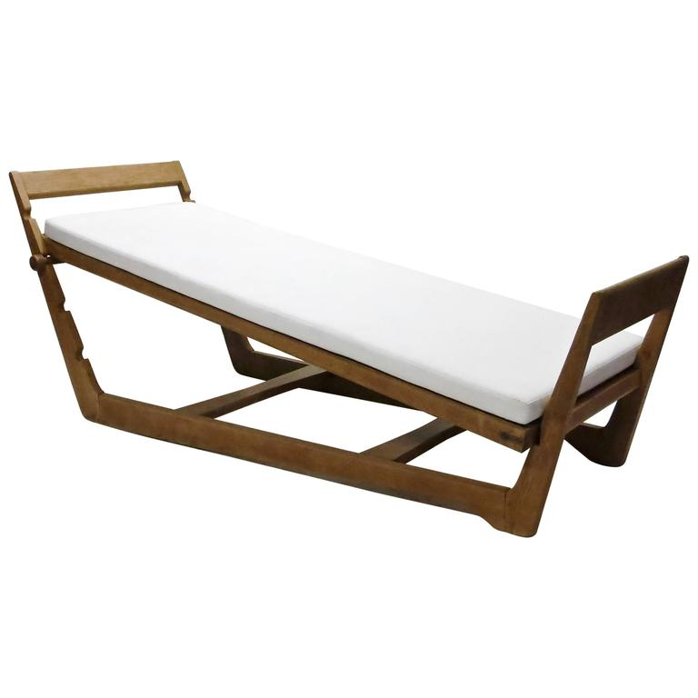 Oak Daybed designed by Maurice Pre, circa 1950, Made in France