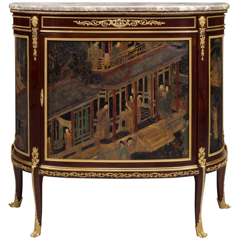 Louis XVI Style Mahogany and Lacquer Commode by François Linke, circa 1890 For Sale
